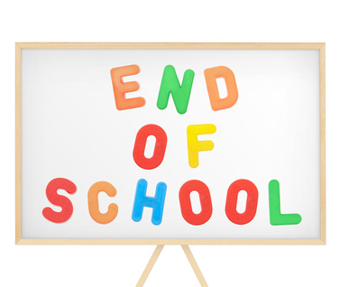End of school sign on magnetic board